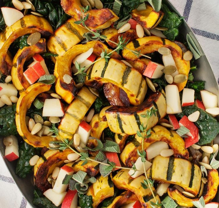 Roasted Delicata Squash with Apples and Sage