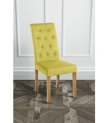 Genoa Olive Upholstered Scroll Back Dining Chair with Natural Legs