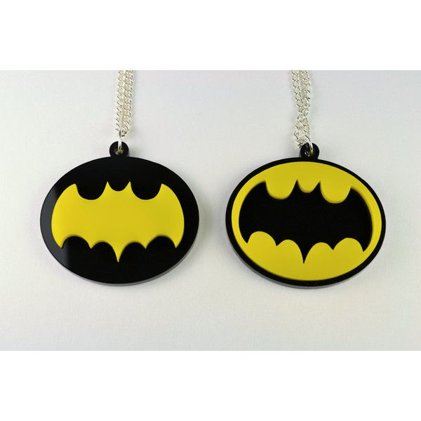 Pair of Retro Batman Symbol Pendant Friendship Necklaces - Laser Cut... ($20) ❤ liked on Polyvore
