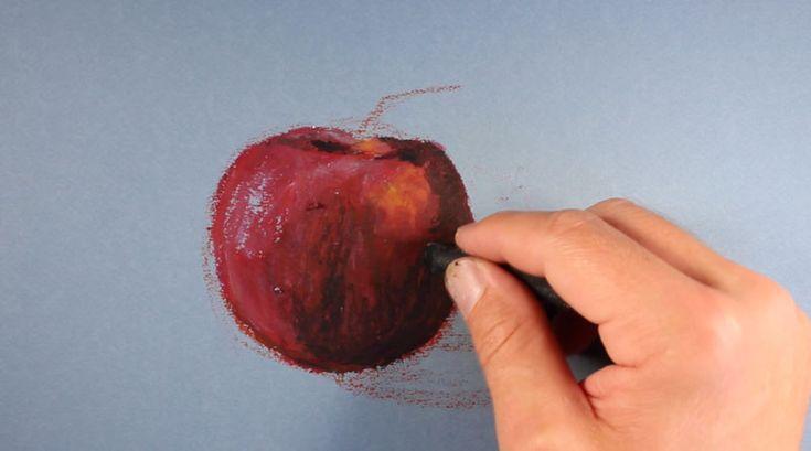 Oil Pastel Drawing- Apple
