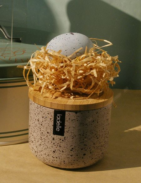 Prop egg in nest made of woodstraw. Easter Kitchenware window display for London and American Supply Stores, Melbourne Australia Display and image by Patricia Denis