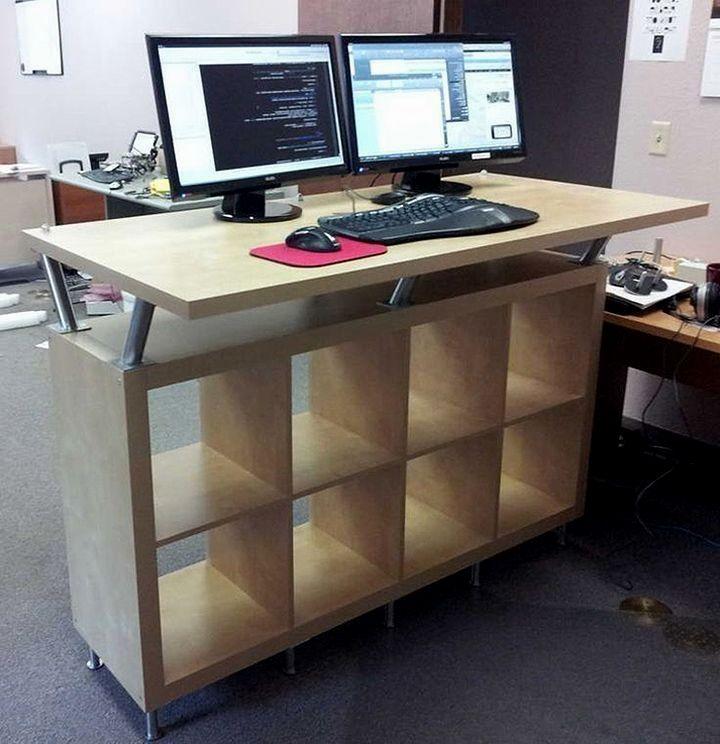 24 Creative And Useful Ikea Office Furniture Hacks Ikea Office Furniture Ikea Standing Desk Diy Standing Desk