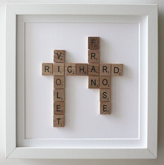 Framed Scrabble Family Tree 5th year anniversary by Ateliergreen