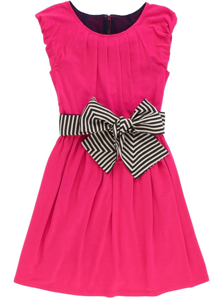 {Pink Knit Stripe Sash Dress} Just think that bow is darling, absolutely darling... Do you let your kids pick out their own clothes?