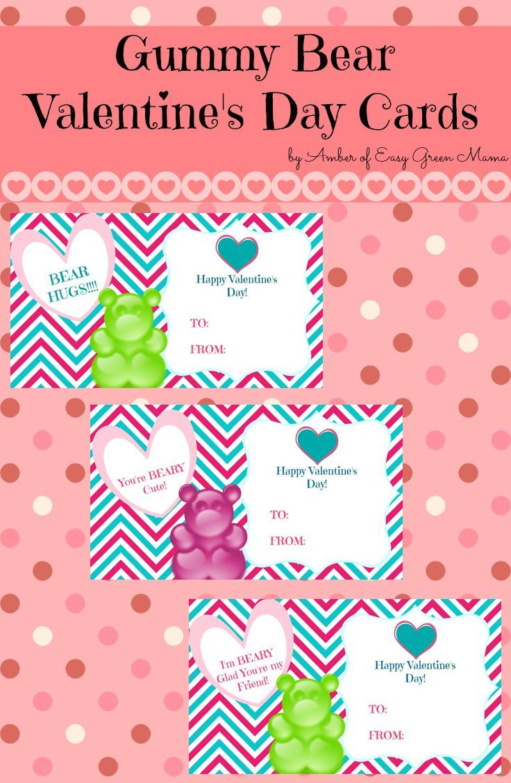 Free Printable Gummy Bear Valentine's Day Cards – #Bear #cards #Day #Free #gummy…