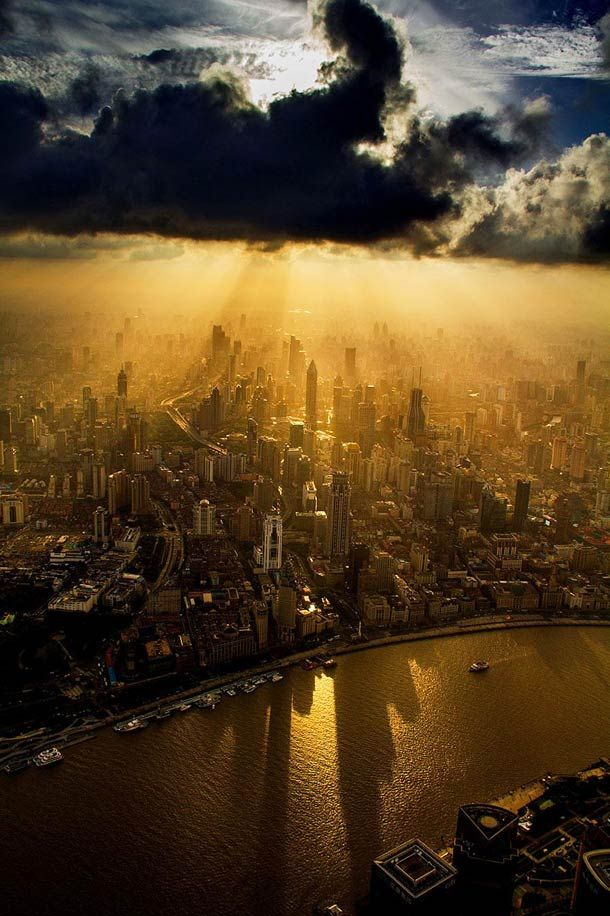 Shanghai photographed from a crane at the top of the second tallest building in the world!