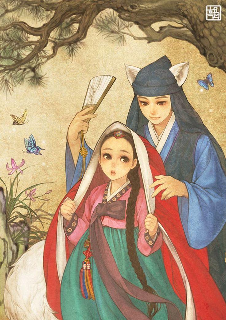 Les créationsdeNa Young Wu, aka Obsidian, une illustratrice coréenne qui s'amuse à donnerune jolie touche asiatique aux contes européens et aux classi