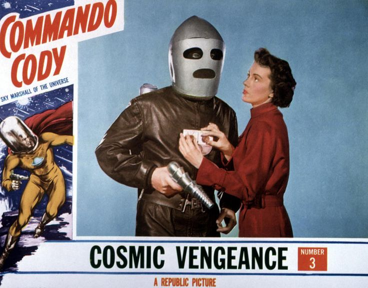 "Commando Cody - TV and movie serial from the 1950's.  Not to be confused with Commander Cody, a character from Star Wars, or the music group ""Commander Cody and the Lost Planet Airmen."""