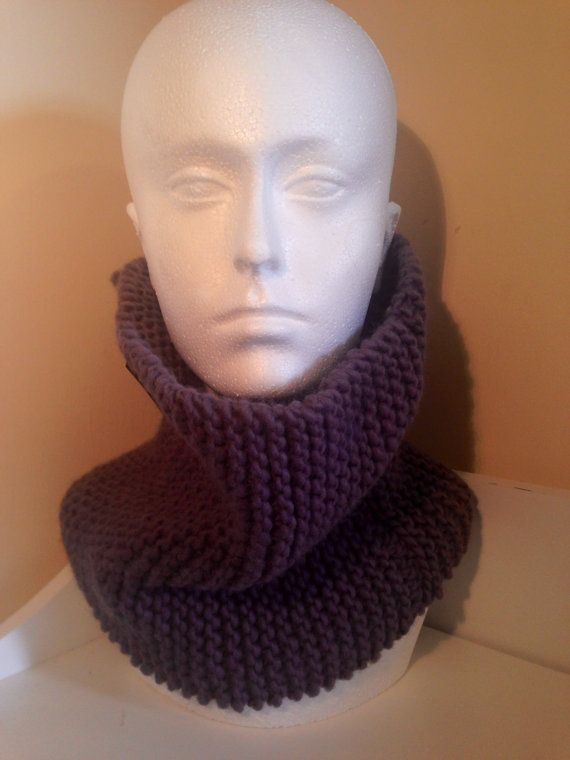 Purple chunky knit snood on Etsy, £10.00