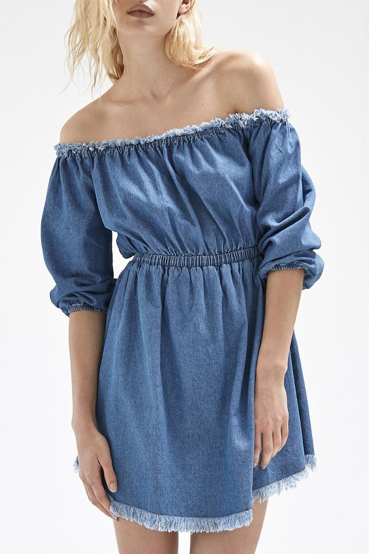 Long Sleeve Off-the-shoulder denim dress with elastic waistband and cuffs and frayed edges on hem and neckline.     Harley Dress by Steele. Clothing - Dresses - Off The Shoulder Clothing - Dresses - Denim Clothing - Dresses - Casual New South Wales, Australia