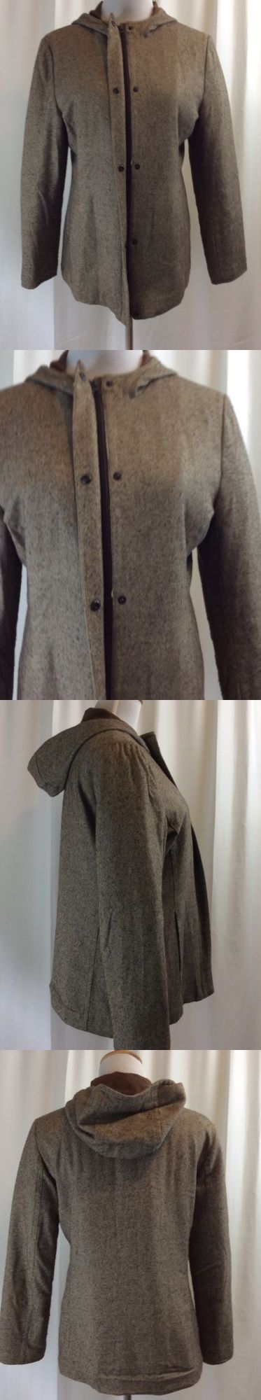 Women Coats And Jackets: Gap Womens Brown Hooded Zip And Snap Front Coat Jacket Size M -> BUY IT NOW ONLY: $11.55 on eBay!
