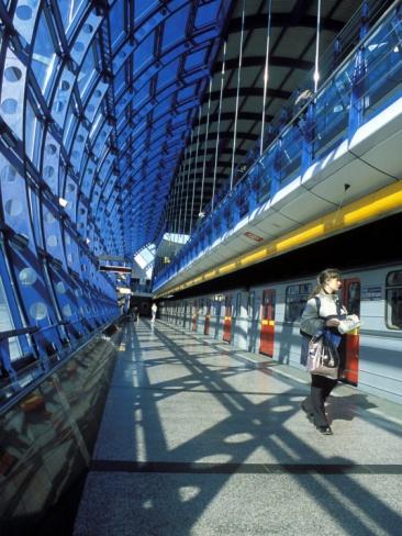 Interior of Modern Cermy Most Metro Station - Prague, Czech Republic