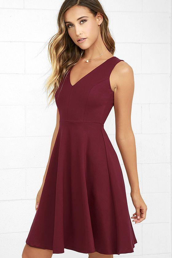 Wine Red Dress - Midi Dress - Skater Dress - Sleeveless Dress - $59.00