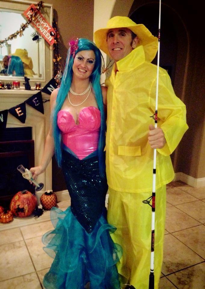 couple costume fisherman and mermaid - Mens Couple Halloween Costumes
