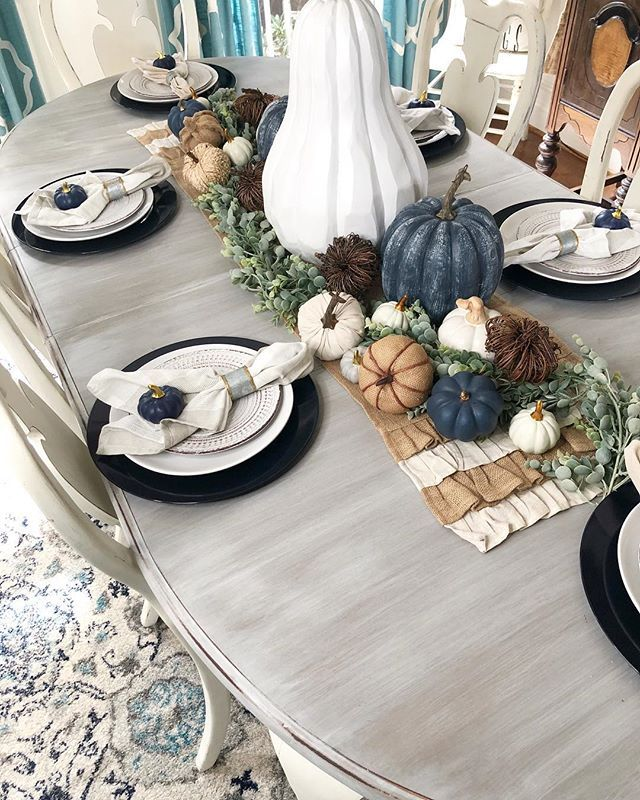 Diy Fall Painted Foam Pumpkins Using Dollar Tree And Walmart Pumpkins Wilshire Collections Fall Dining Room Autumn Dining Fall Dining Table Decor
