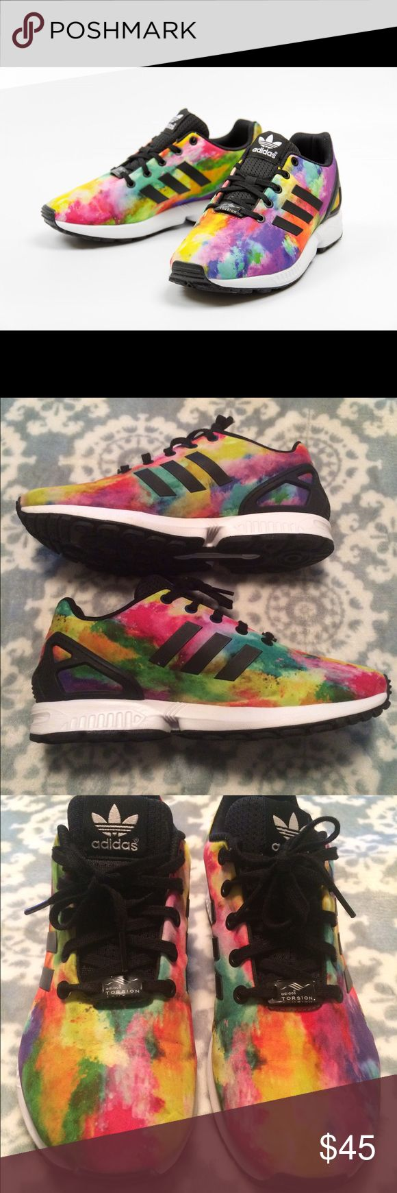 Adidas ZX Flux multi-color Adidas ZX Flux Multi-color shoes. I only wore them a few times, in mint condition. They are super comfy but they were too colorful for my taste. They are an 8.5 in women's. Adidas Shoes Athletic Shoes