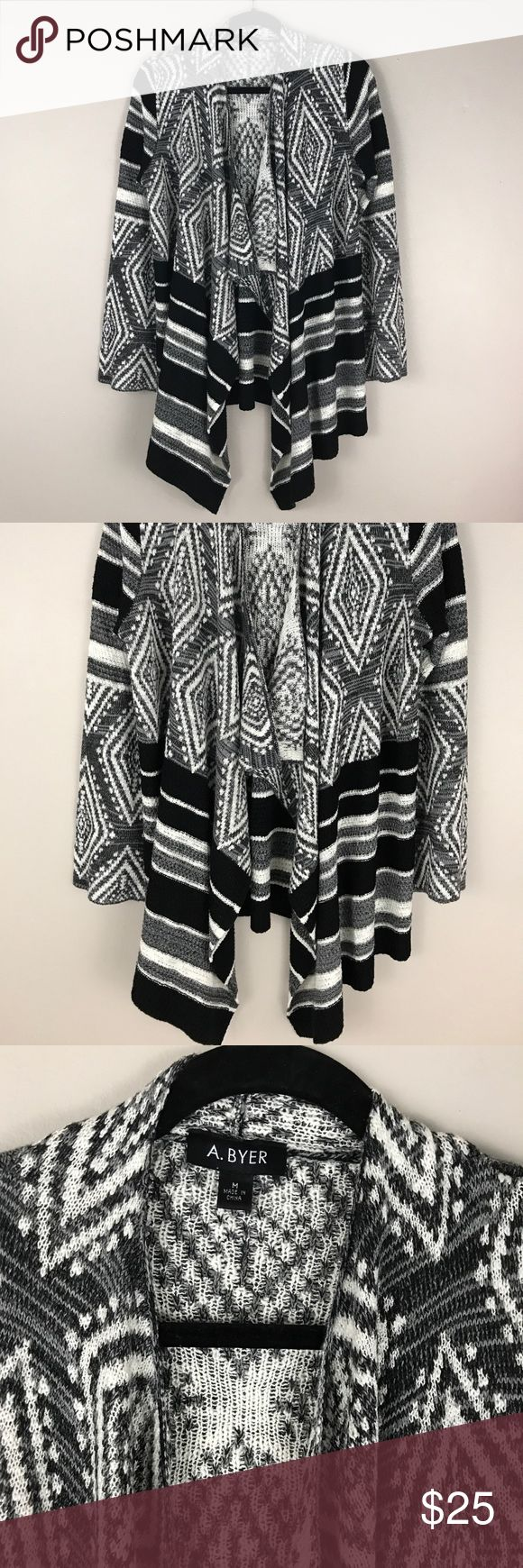 A. Byer Black White Drape Tribal Print  Sweater Open front cardigan sweater in black and white Tribal Print. Long sleeve. Very warm and cozy perfect layering piece. Easy loungewear. In excellent condition. Fits true to size. A. Byer Sweaters Cardigans