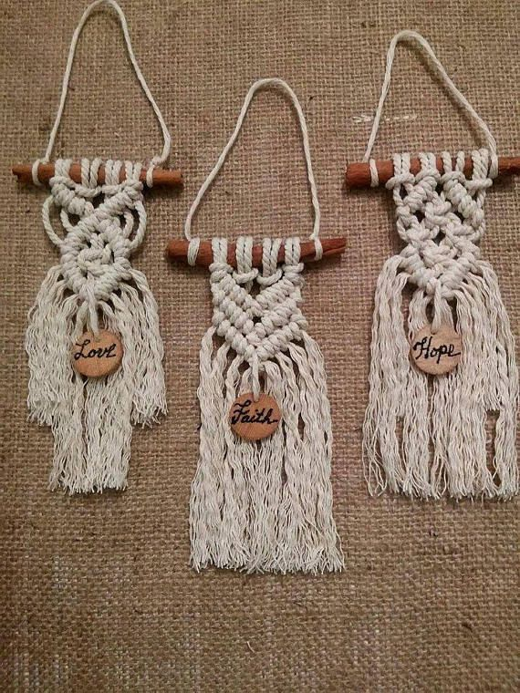 Cinnamon Stick Macrame Hangings Set Of 3 Wall Hangings Home Decor Wedding Favors Gift For Gues Macrame Patterns Macrame Projects Macrame Diy