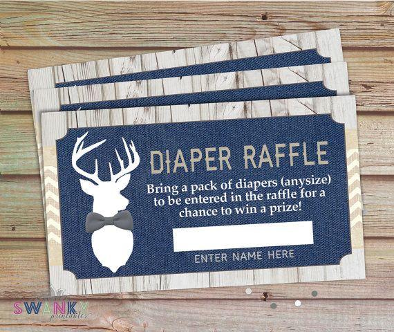 Rustic Deer Baby Diaper Raffle Tickets, Navy and Burlap, Gray Bowtie Deer, Little Buck Shower, Burlap Rustic Shower