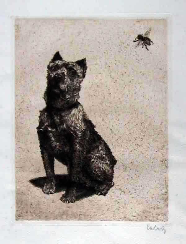 """Paul Casberg """"The Bumblebee"""" drypoint etching."""