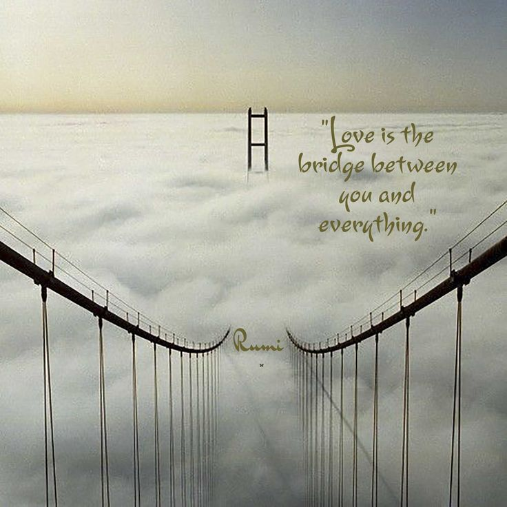 """""""Love is the bridge between you and everything.""""  ♡ Rumi"""
