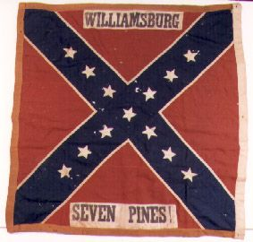 8th Alabama Infantry.  This flag is an Army of Northern Virginia, 1st wool bunting issue. Flags of this pattern were first issued in May and June 1862. The flag of the 8th Alabama Infantry was captured on June 30, 1862 at the Battle of Willis' Church (Frayser's Farm, New Market Roads, etc.) by Isaac Springer, Co. K, 4th Regiment Pennsylvania Reserve Volunteer Corps.