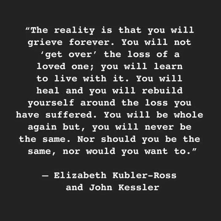 Whether you lose a loved one suddenly or slowly, this is so true. It's never about getting over your loss and moving on, it's about learning to live happily in a new normal, grief included.  Dedicated to dad and brother. ❤