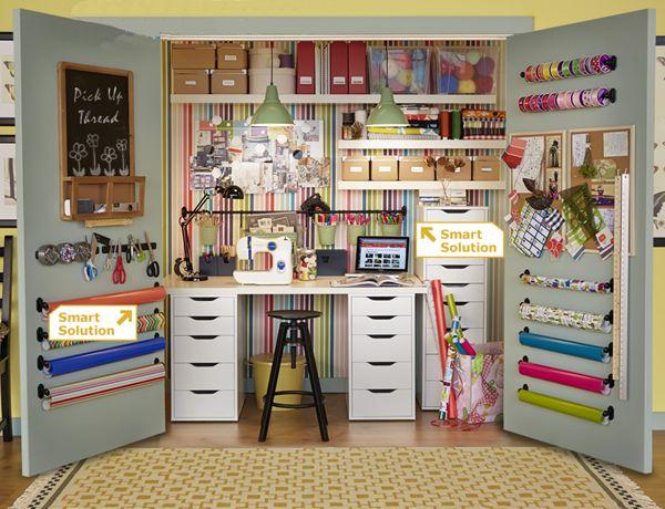 Ikea...instead of a craft room a crafty closet.  Love it!