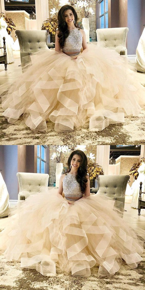 889511cb8f0 Exquisite Sequin Beaded Two Piece Prom Dresses Champagne Ball gowns  Quinceanera dress organza ruffles
