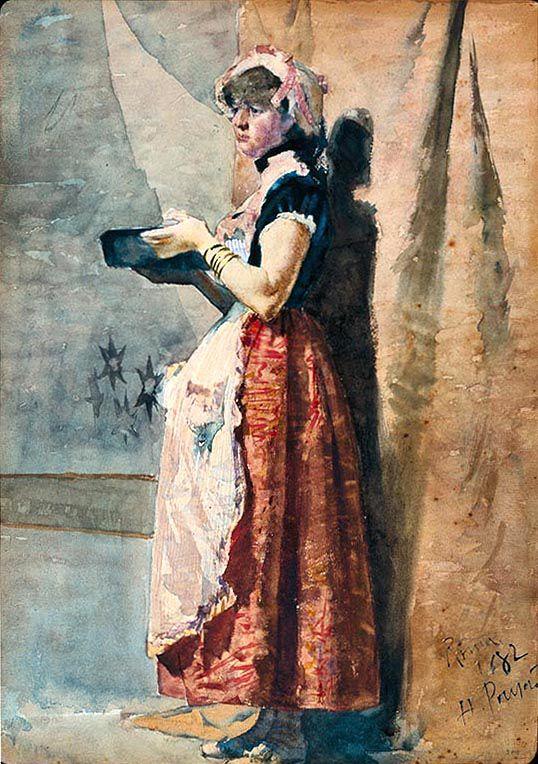 """Henrique Pousão / """"Rapariga Romana"""" / 1882 / aguarela s/ papel / MNAC, Lisboa"""