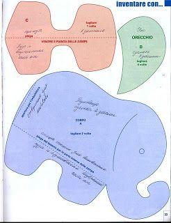 Elefante de tecido com molde - patchwork                                                                                                                                                                                 Mais