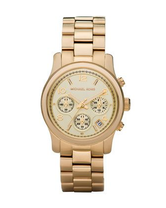 I am so excited! I just treated myself to my first ever Michael Kors watch and I'm in love!!!! Michael Kors Yellow Golden Midsized Chronograph Runway Watch.