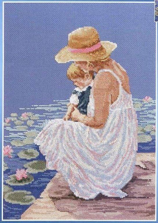 0 point de croix mère et fils au bord de l'eau - cross stitch mother and son in front of water