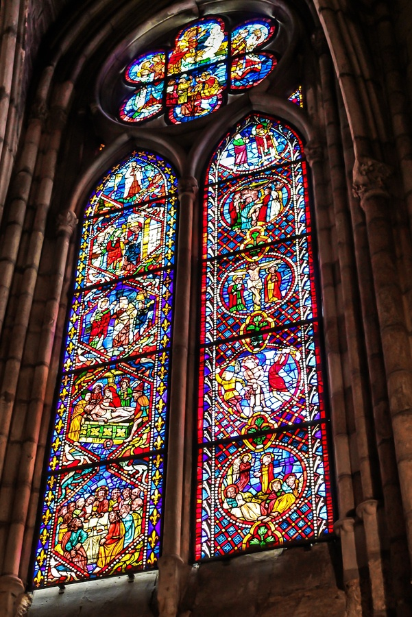 Stained glass window at León Cathedral - Leon, Spain