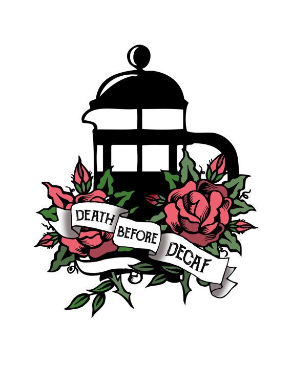 Death before Decaf! - Coffee lovers Tattoo style Red roses pinup kitchen art - Printable Coffee wall art - 16x20 digital print  Buy 2 get 1 free