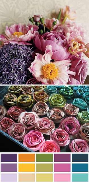 colour palette : jewel coloured petals..