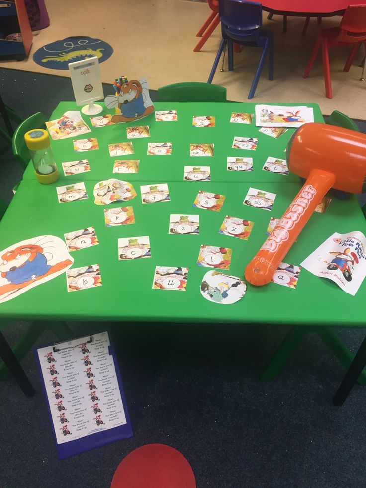 Little Rabbit Foo Foo phonics game. Children have to 'bop' as many sounds as they can in a minute using the hammer-a friend counts for them and has to beat that score (links with N,C+L and PSED too). Made by cropping pics from story found on the internet and writing sounds on them-simple! There is also a sheet to record any CVC words they can make using the sounds.