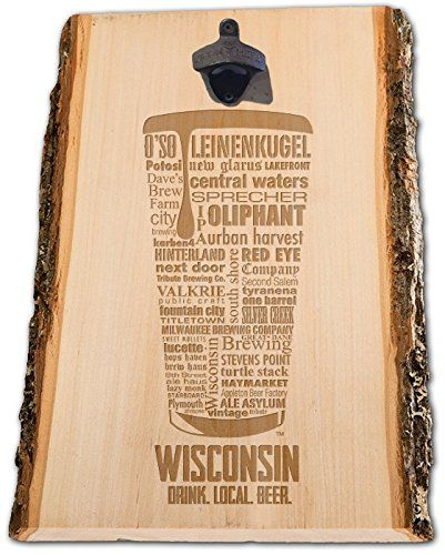 Rustic Wisconsin Craft Beer Typography Engraved Bottle opener, Brewery Sign, Wall Bottle opener, Beer Lover gift, man Cave gift, Gifts for dad, Gifts for him. This Wisconsin engraved bottle opener is a unique design, that is laser engraved on hand picked, kiln dried wood, with bark accents. A rustic, cast iron bottle opener is attached and you're unique bottle opener is ready to hang on the wall at home or in your man cave.