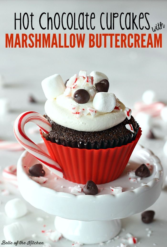 These hot chocolate cupcakes are topped with a delicious marshmallow buttercream and made to look like little cups of hot cocoa!
