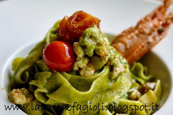 Pappardelle Flaminio con ragù di aragostelle e pesto di rucola by Stefano De Gregorio http://lapastaefagioli.blogspot.it