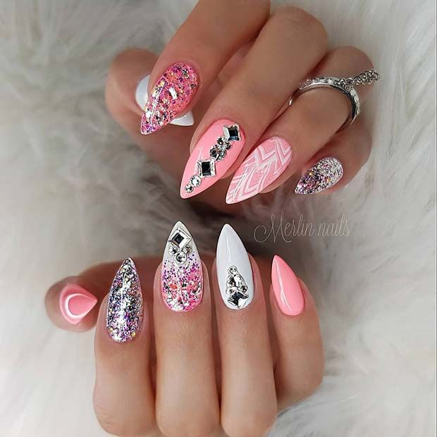 30 Creative Styles For Pink And White Nails Fashion 2d Pink White Nails White Nail Art Pretty Nail Art