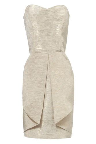 Jane Norman Metallic Fold Jacquard Dress, available at Jane Norman. Image via Refinery 29.