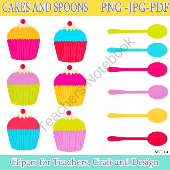 Cake and Spoons Clip Art / Cake Digital Clipart. Instant Download from Digital PaperCraft on TeachersNotebook.com -  (12 pages)  - Cake and Spoons Clip Art / Cake Digital Clipart. Instant Download