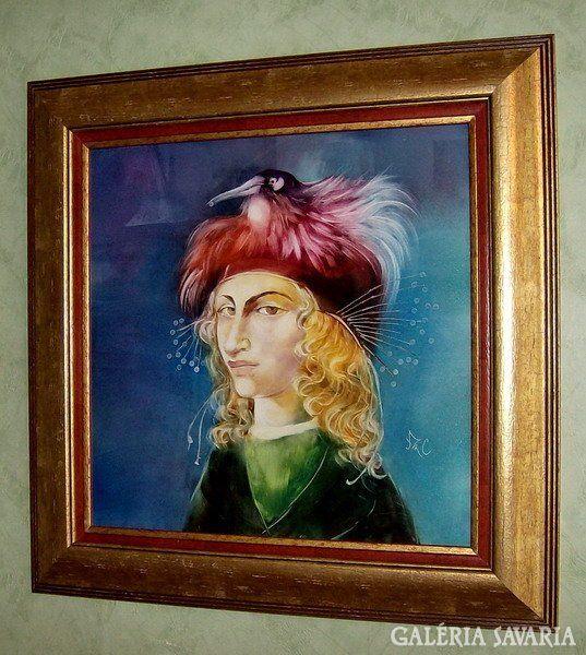 Szász Endre női portréja gyönyörű, a középkort idéző rubin, smaragd, égszínkék színvilággal, a madár csőrében egy gyöngyszemmel.