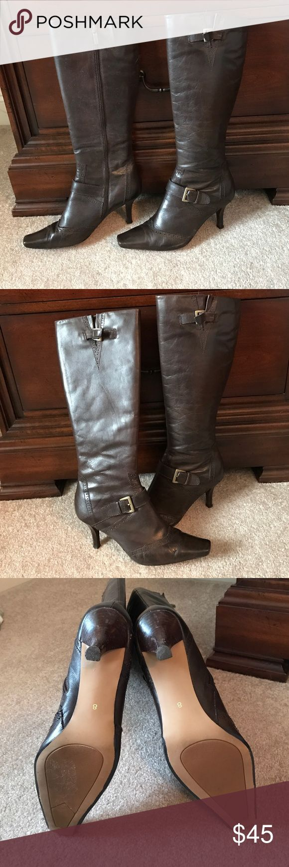 Brown heeled boots Elle brown heeled boots, 3 inch heels Elle Shoes Heeled Boots
