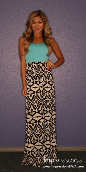 Cute maxi dress but needs either a belt or a chunky necklace to spice it up a little.