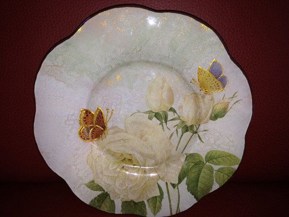 """Beautiful Decorative Glass Plate """"White Rose's Story"""", Home decor, Table decor, Decoupage plate, Gift ideas"""