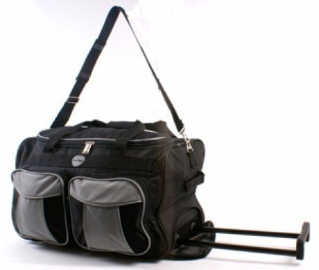 """Mens Womens ,20"""" BLACK/GREY Wheeled Holdall, (DIMENSION 20"""" x 10.5"""" x 12.5"""" inches, 43 LITRES.) Ideal Business Bag Luggage,Ideal Fight Cabin Bag Size Ok For Most Airlines, overnight Weekend Bag, Hospital Bag, School College Holdall, Sport Gym Bag.Flight Cabin bag, (Black and Grey) has been published on http://www.discounted-baby-apparel.com/2013/05/14/mens-womens-20-blackgrey-wheeled-holdall-dimension-20-x-10-5-x-12-5-inches-43-litres-ideal-business-bag-luggageideal-fight-cab"""