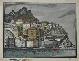 Hydra. Woodcut 1950. Tassos (Tassos Alevizos).