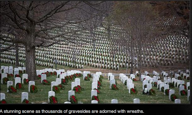 A stunning scene as thousands of gravestones are adorned with wreaths. - Wreaths Across America program